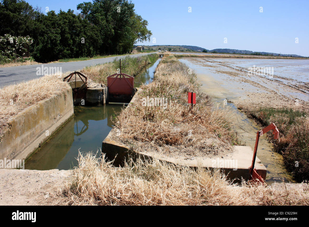 Irrigation is a historic preoccupation in Narbonne where the silting of the River Aude left the port without a channel Stock Photo