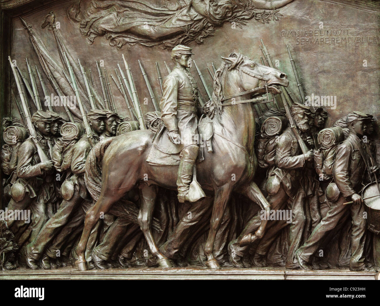 The Robert Gould Shaw Memorial is a bronze relief sculpture honoring Robert Gould Shaw and the 54th Massachusetts - Stock Image