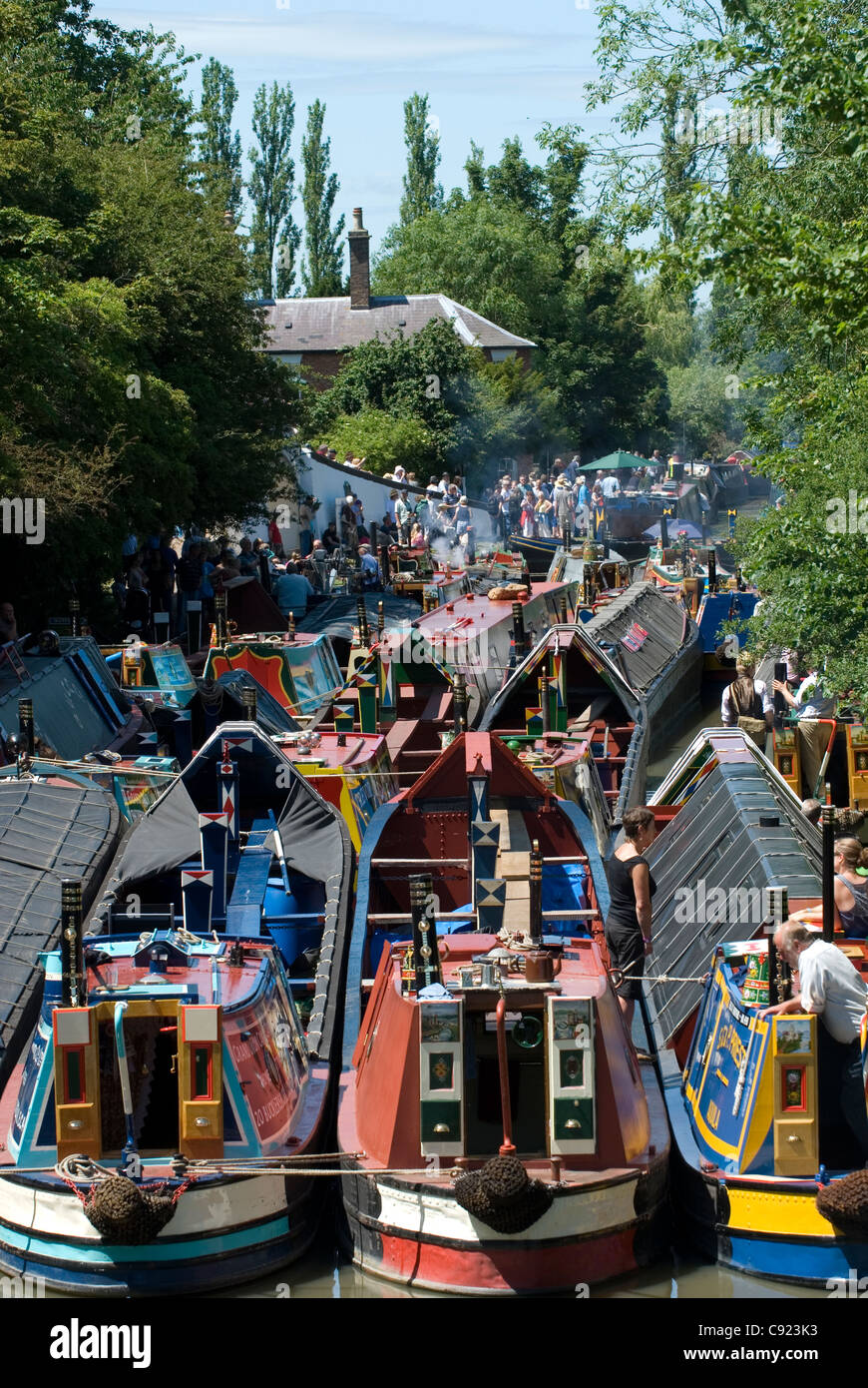 Grand Union Canal. Narrowboats moored during the Braunston Historic Narrowboat Rally 2011. - Stock Image