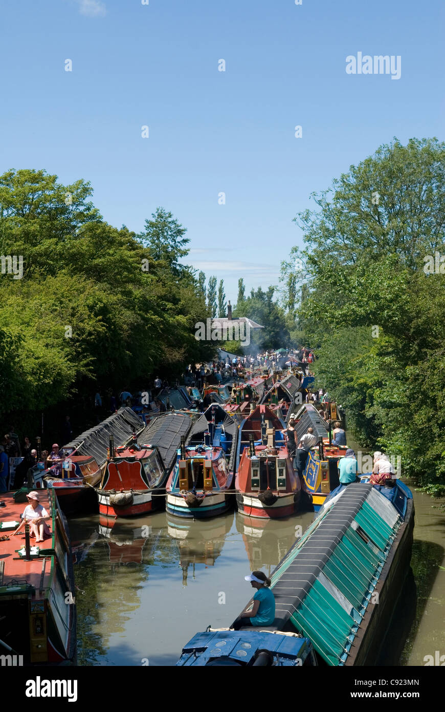 Grand Union Canal. Restored working narrowboats moored at the Braunston Historic Narrowboat rally 2011. - Stock Image