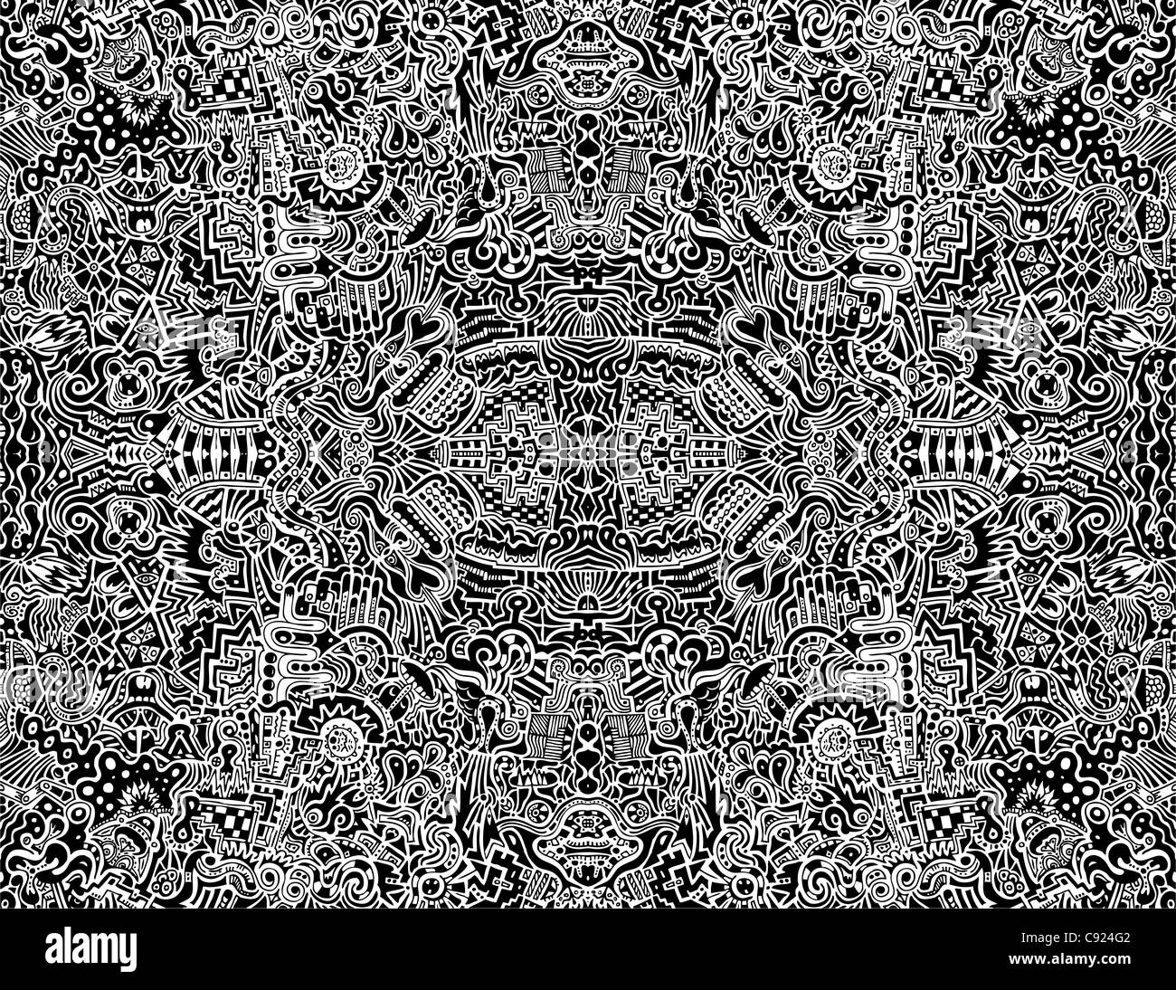 A highly complex, symmetrical, abstract seamless illustration. - Stock Image