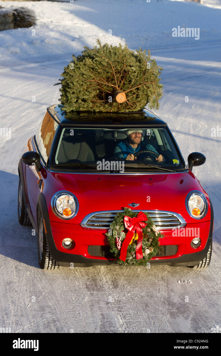 Christmas Sports Car.Red Mini Cooper Sports Car With Christmas Tree On Top Drives