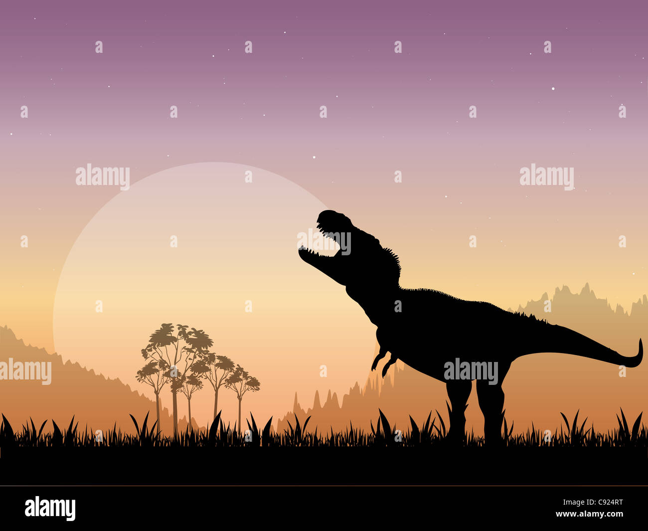 The Silhouette of a Tyrannosaurus Rex Roaring in front of a dull moon with a starry night sky as the backdrop. - Stock Image