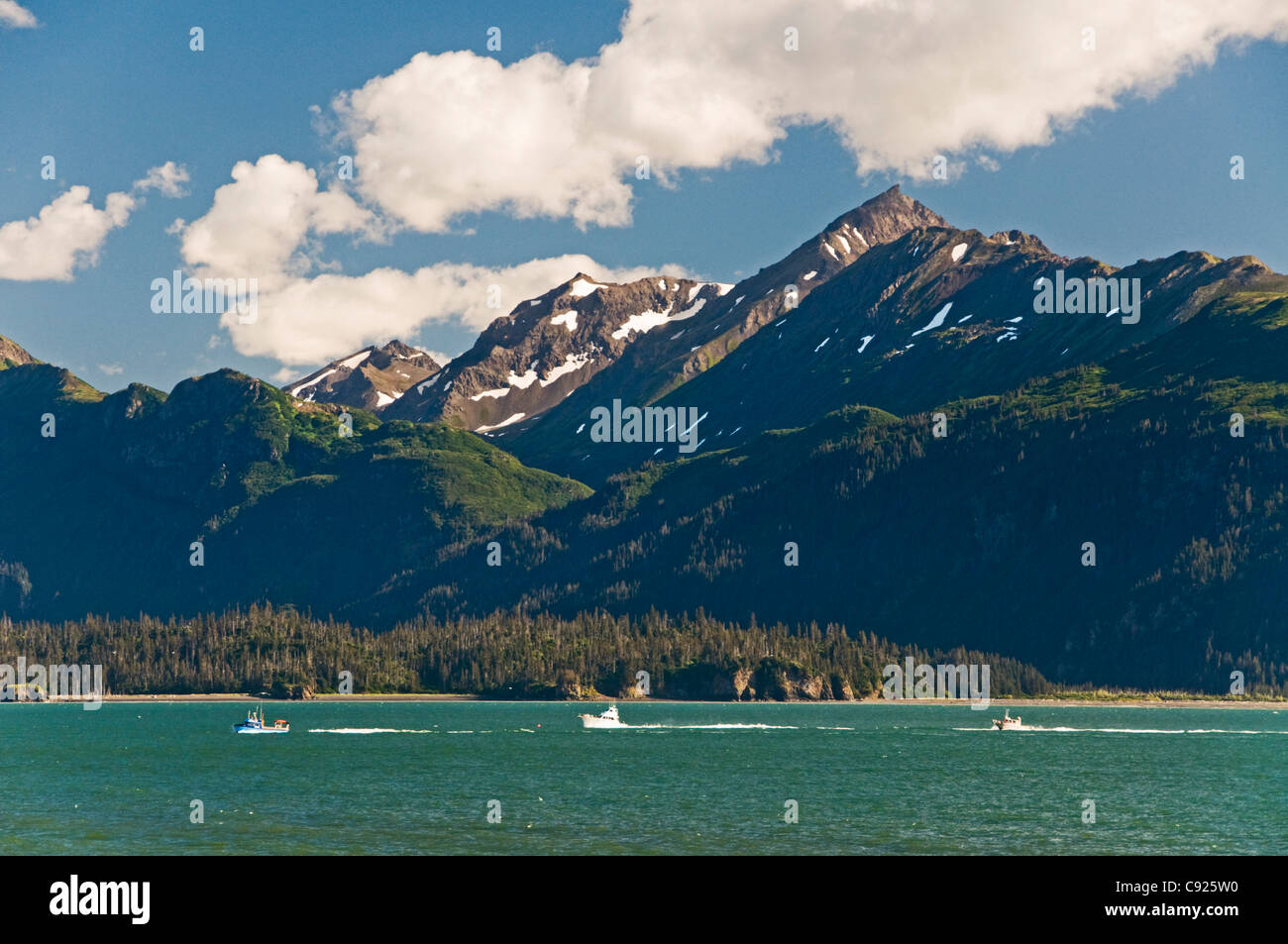 Sport fishing charter boats in Kachemak Bay with the Kenai Mountains and Sadie Peak in the background, Alaska - Stock Image