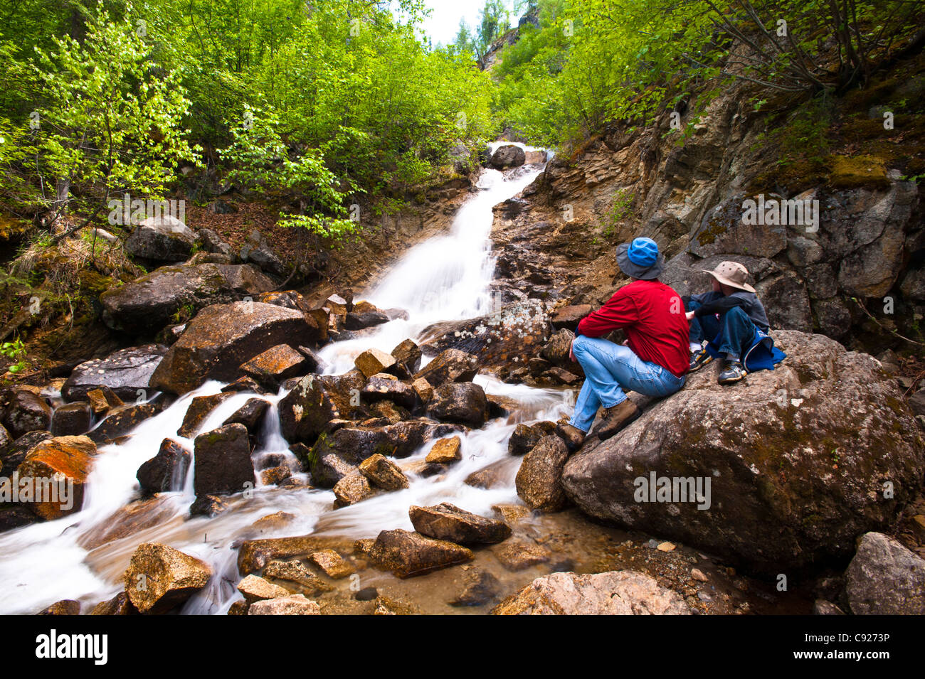 A father and son on a hike rest on a rock while looking at Cascade Falls near Byers Lake in Denali State Park, Alaska Stock Photo