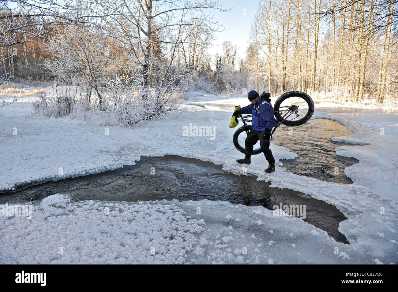 Bicyclist crosses open water of Campell Creek while carrying a snow bike in Far North Bicentennial Park near Anchorage, - Stock Image