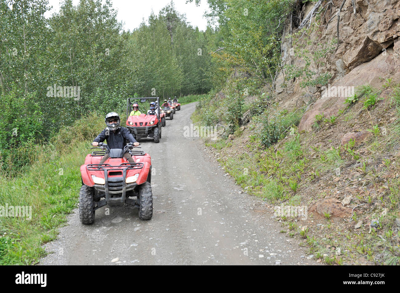 ATV riders on a trail in the Matanuska Valley with Alaska Backcountry Adventure Tours near Palmer, Southcentral - Stock Image