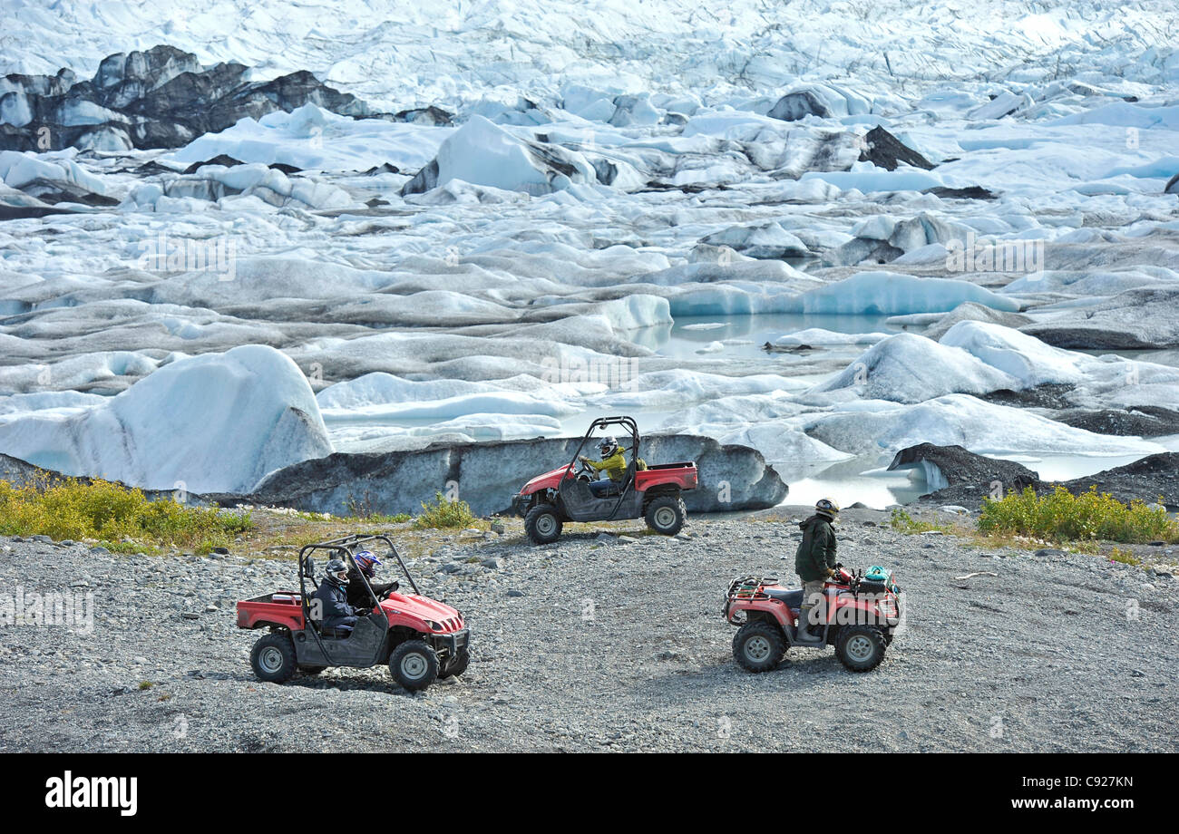 Riders on an ATV tour to the Knik Glacier in the Matanuska Valley with Alaska Backcountry Adventure Tours near Palmer, - Stock Image