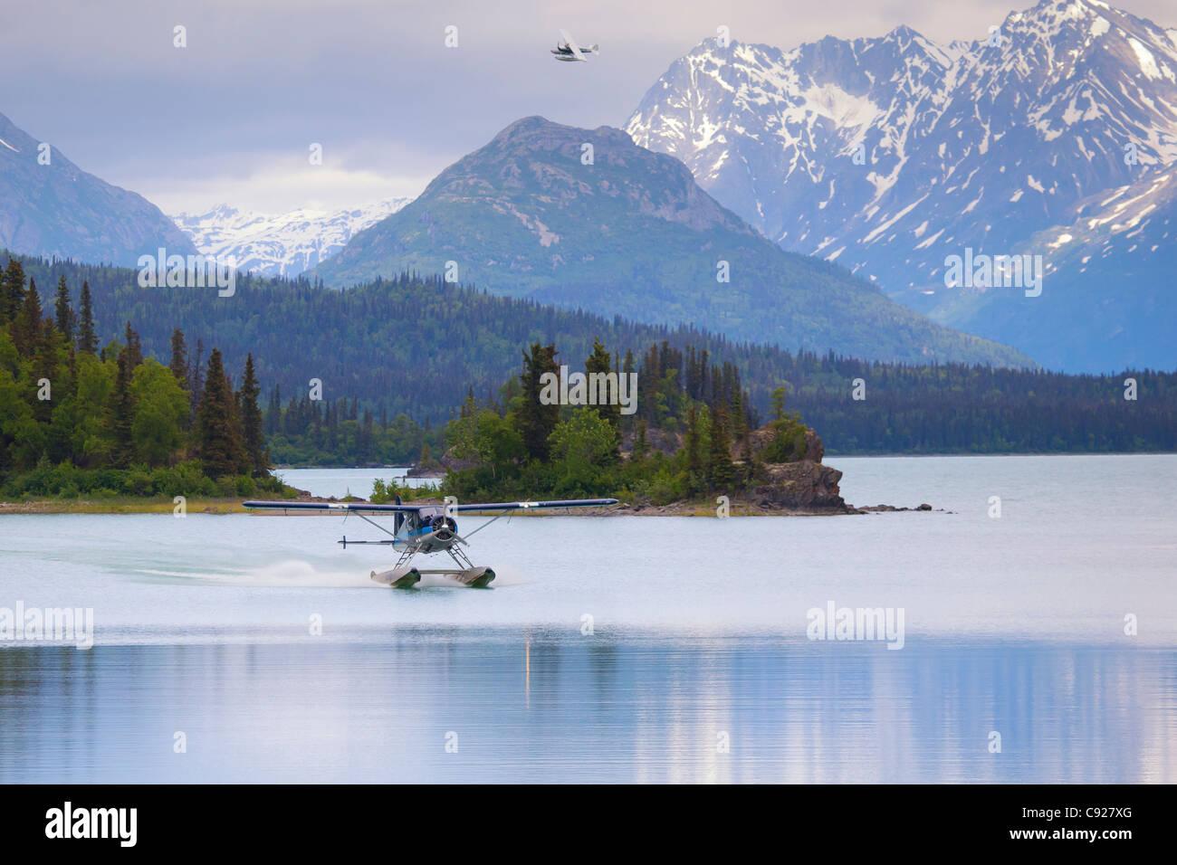 DeHavilland Beaver float plane on Lake Clark, Lake Clark National Park, Alaska - Stock Image