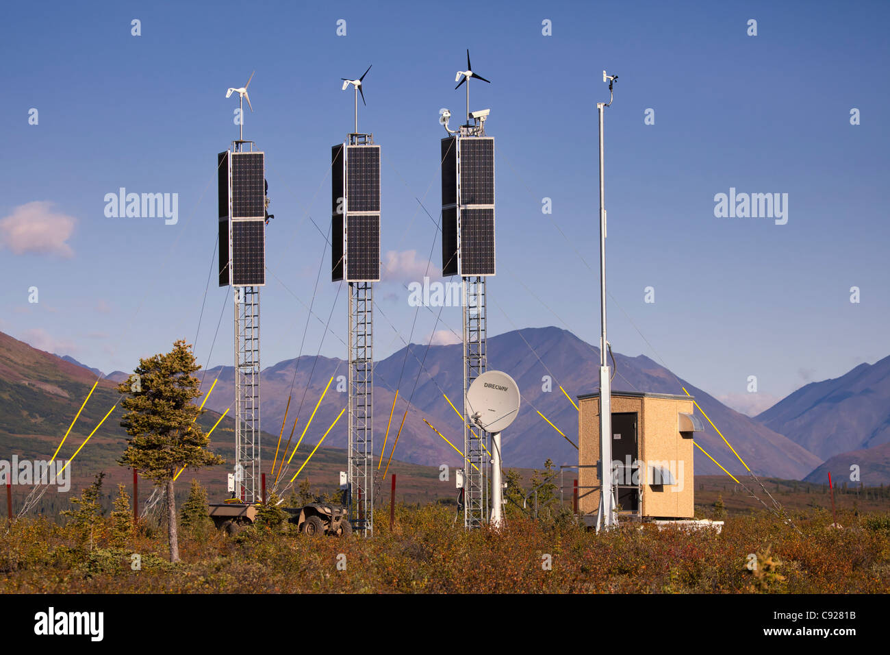View of a solar and wind generation camera site near Rainy Pass and Puntilla Lake,Southcentral Alaska, Fall Stock Photo