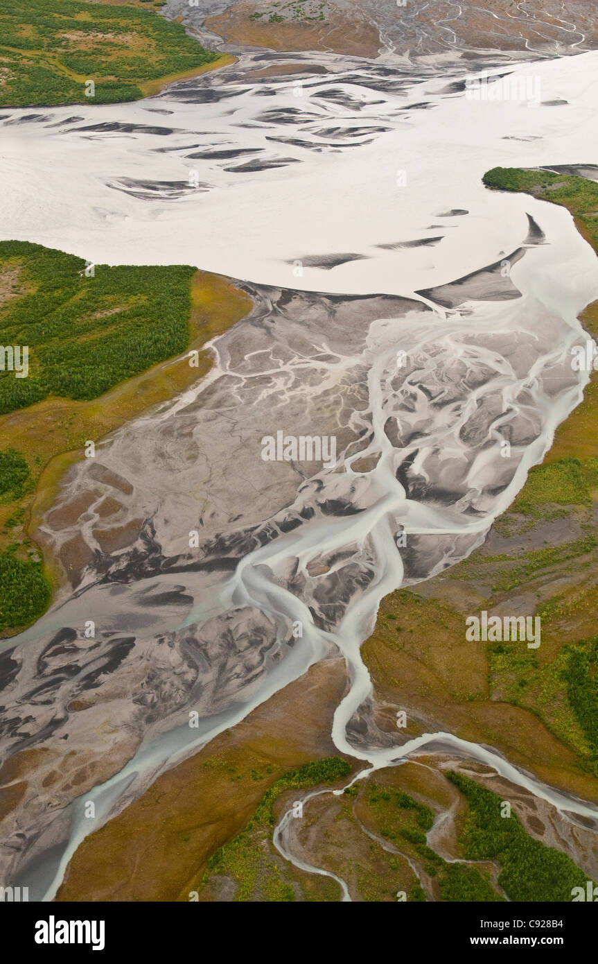 Aerial view of braided river near Colony Glacier in the Lake George State Recreation Area, Southcentral Alaska, Stock Photo