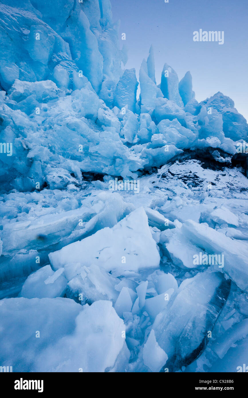 Close up of Portage Glacier moraine and fallen ice, Southcentral Alaska, Winter - Stock Image
