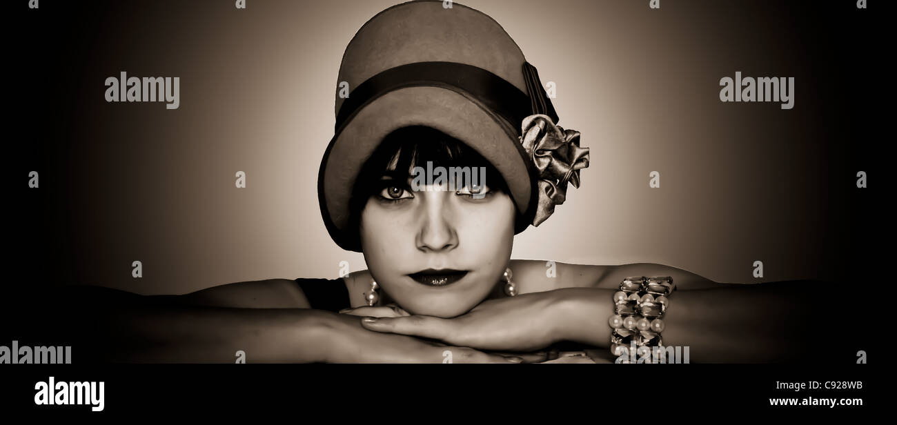 black and white 1920's portrait - Stock Image