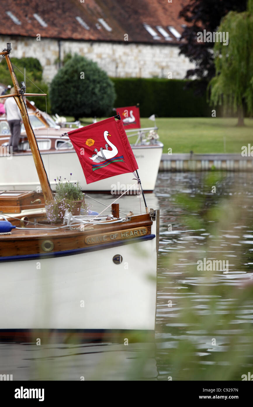 An entourage of boats follow the Swan Uppers down the river during Swan Upping, River Thames, Henley, England - Stock Image