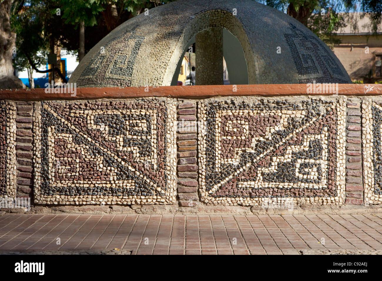 Chile, Coquimbo Region, Combarbala, stonework in central plaza - Stock Image