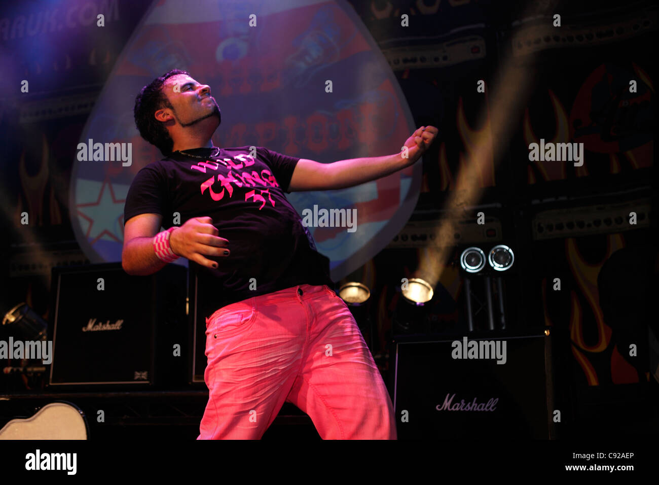 The quirky annual Air Guitar Championships UK Final, held on a Summer evening at the O2 Academy in Islington, London, - Stock Image