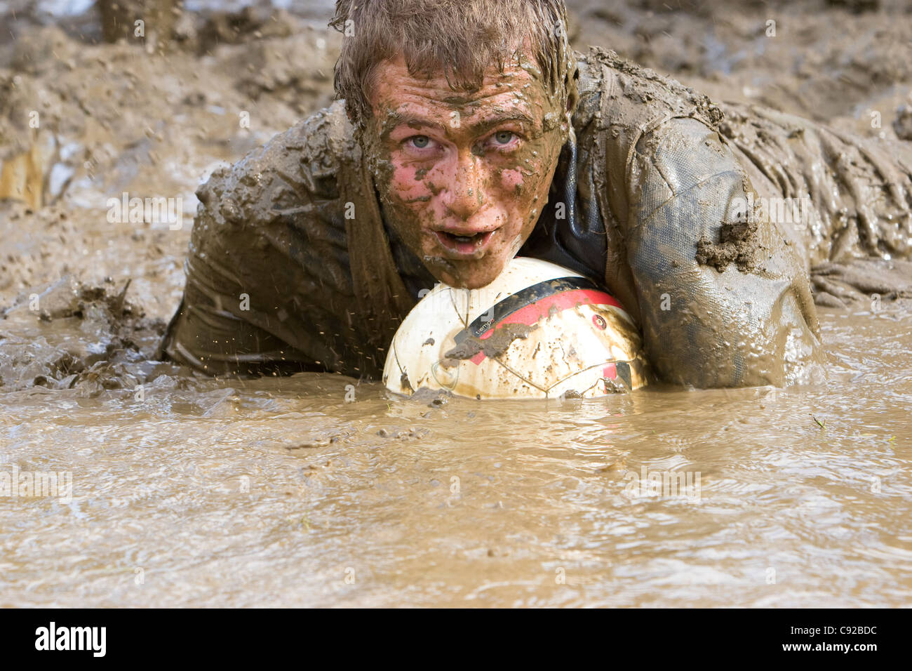 The quirky annual Swamp Soccer World Cup, held in Strachur, Argyll, Scotland - Stock Image