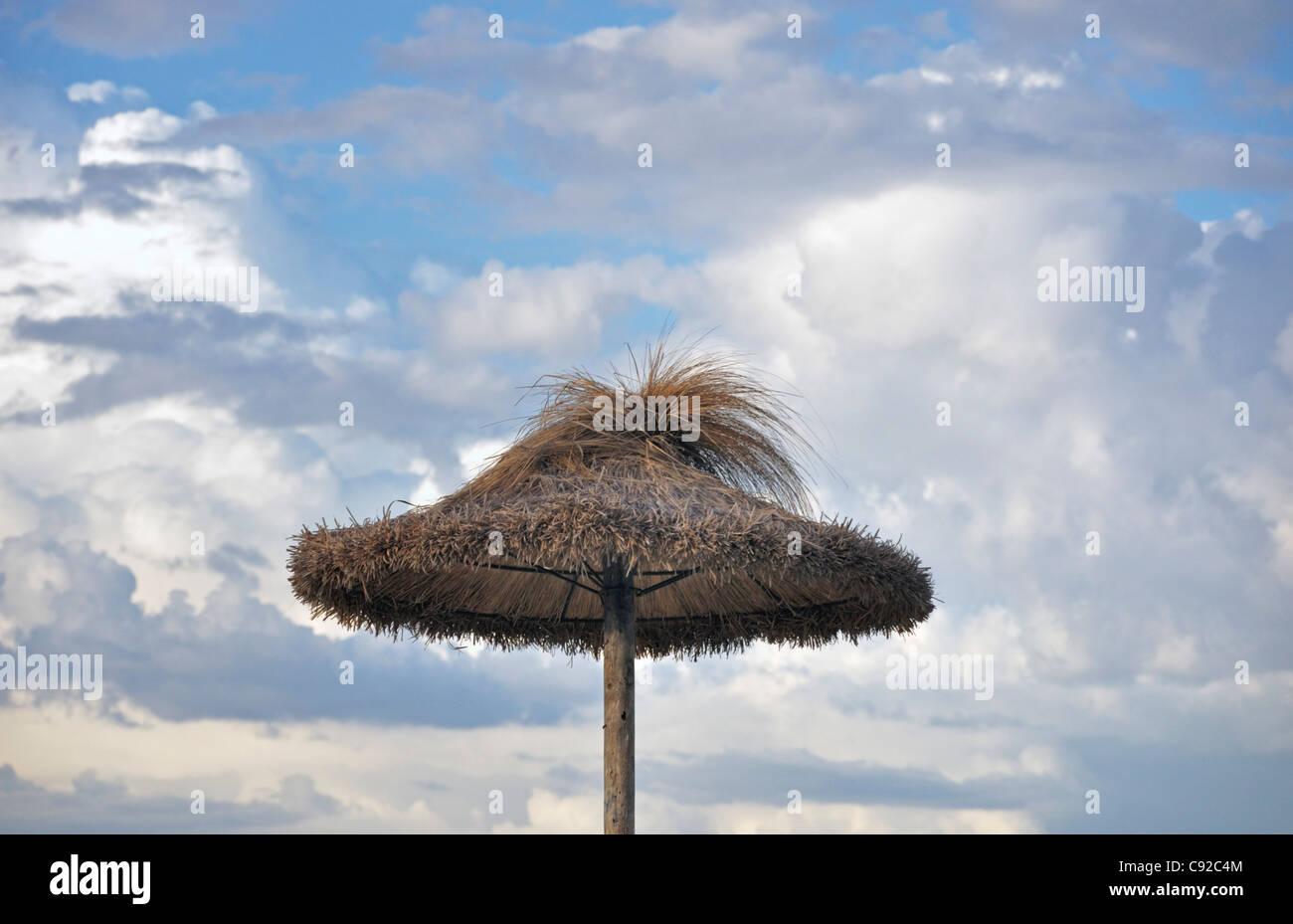Straw umbrella against cloudy sky, Mallorca, Spain, Europe - Stock Image
