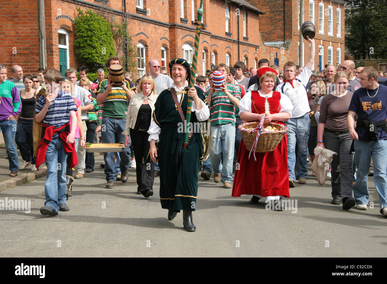 The annual Bottle Kicking and Hare Pie Scramble, held on Easter Monday in Hallaton, Leicestershire, England. - Stock Image