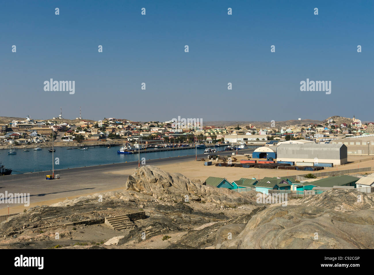 Luederitz harbor and parts of the town Namibia - Stock Image