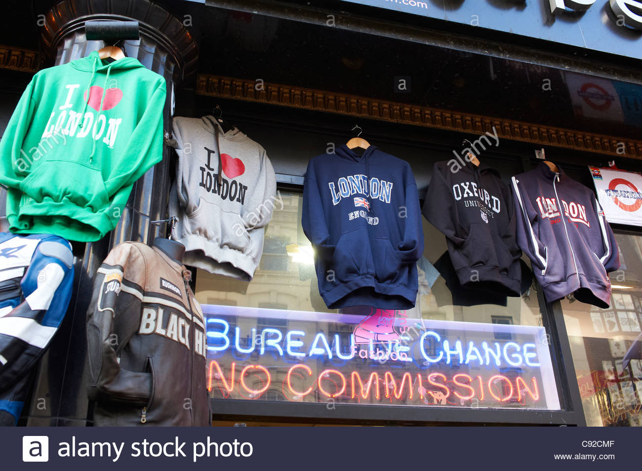 Sweat shirts outside a Shop on Oxford Street   London - Stock Image