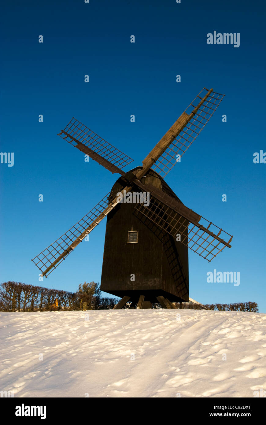 Aarhus Old Mill is one of the sights of the city, on the hill above Den Gamle By. Stock Photo