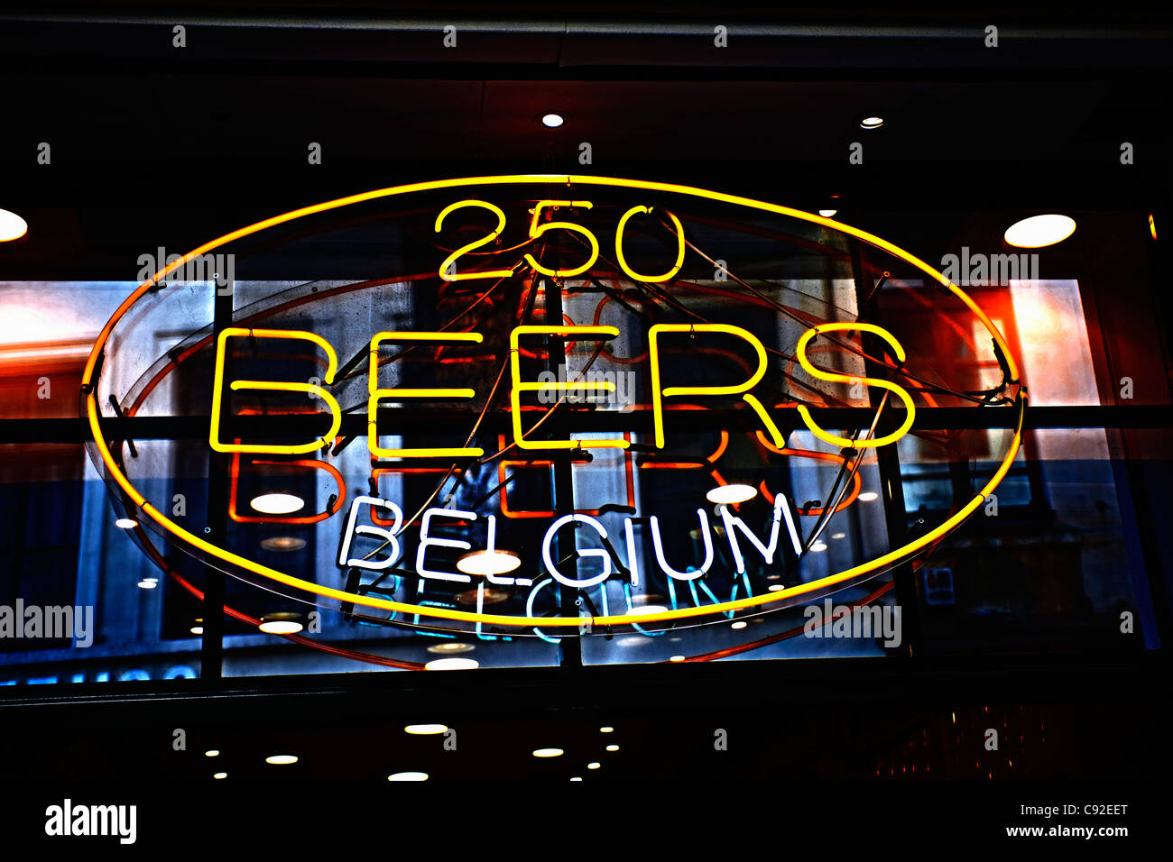 Neon sign advertising Belgian beer - Stock Image