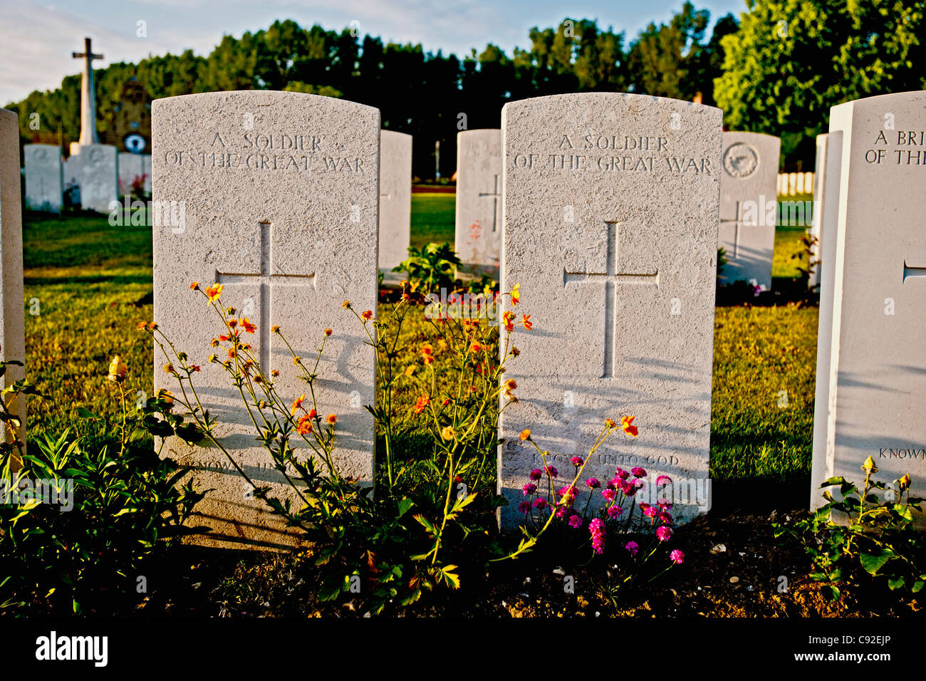 Close up of soldier's headstones Stock Photo