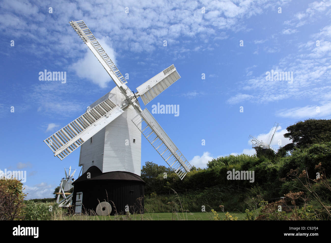 There are several historic windmills on the Sussex Downs. - Stock Image