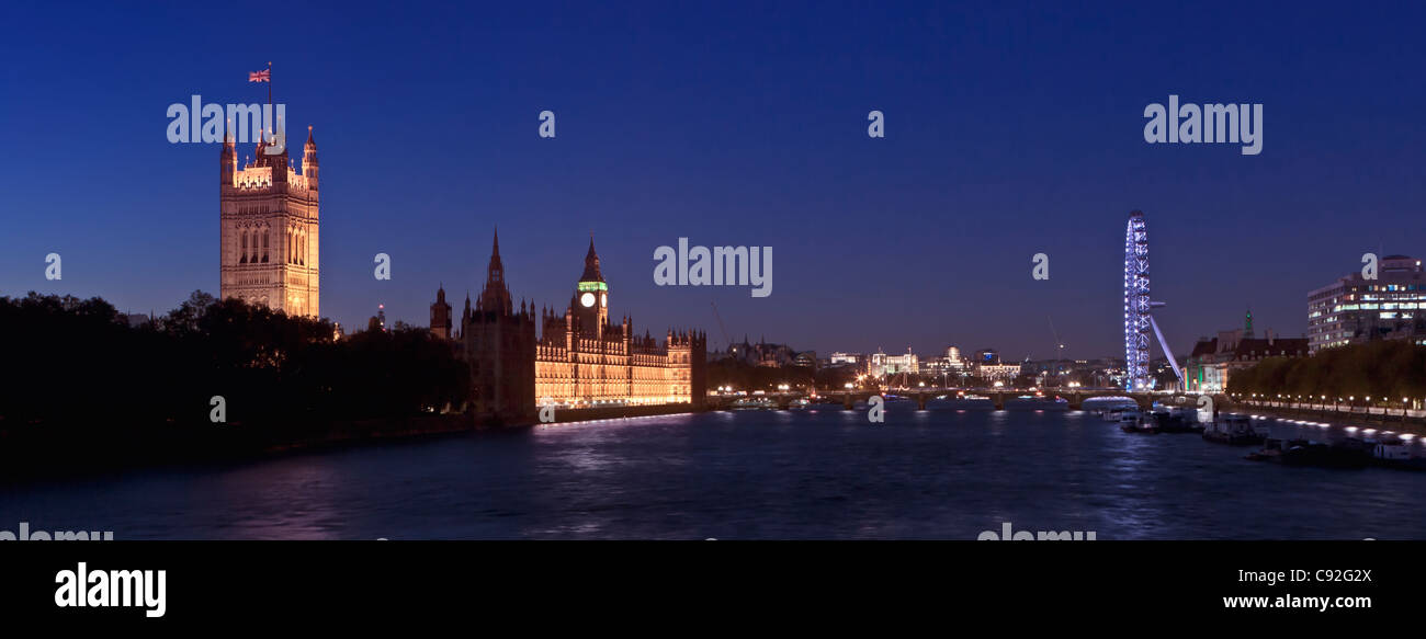 Panoramic view over the river Thames at night, London, England Stock Photo