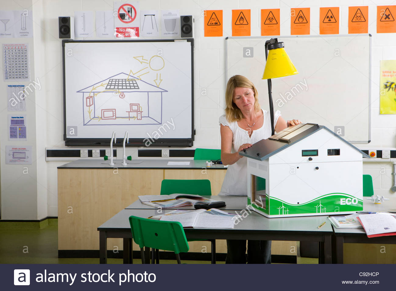 Female teacher adjusting solar panels on house model in science class - Stock Image
