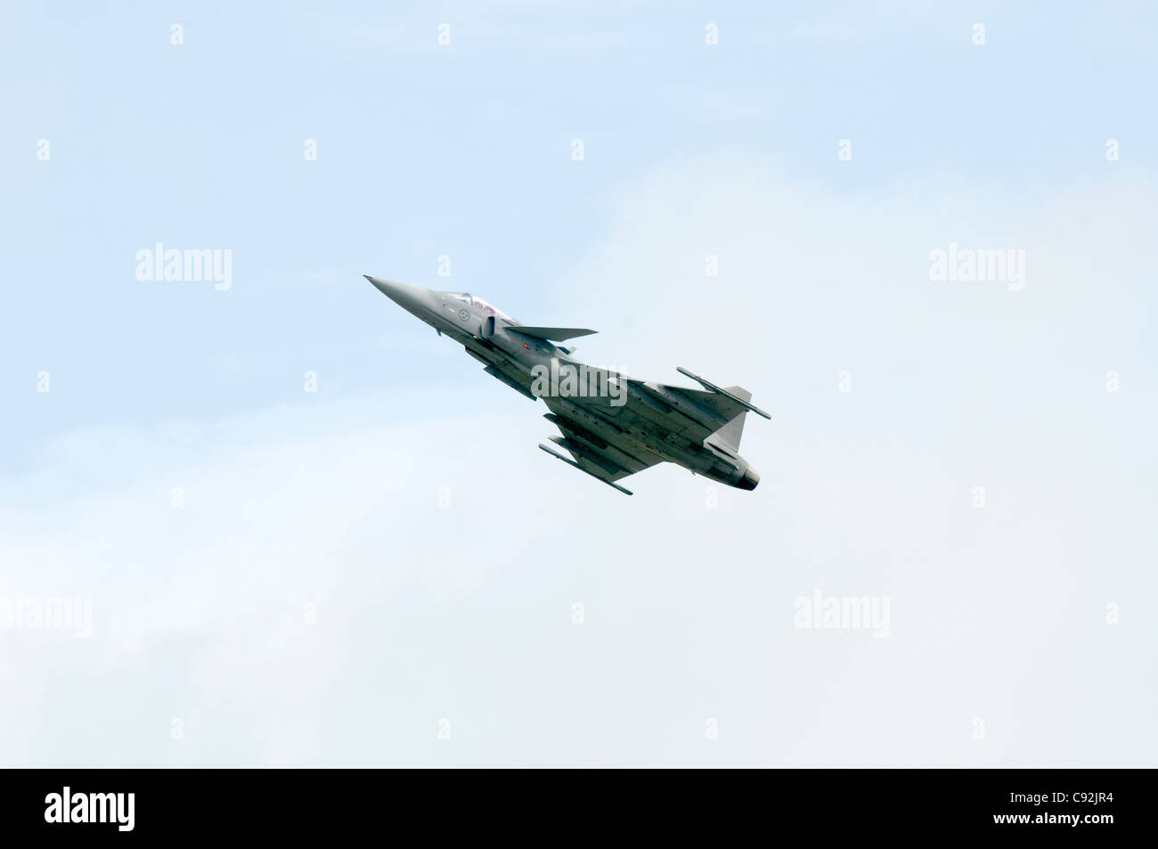Saab JAS39C Gripen F7 Swedish Air Force Satenas  at flying display Royal International Air Tattoo at RAF Fairford - Stock Image