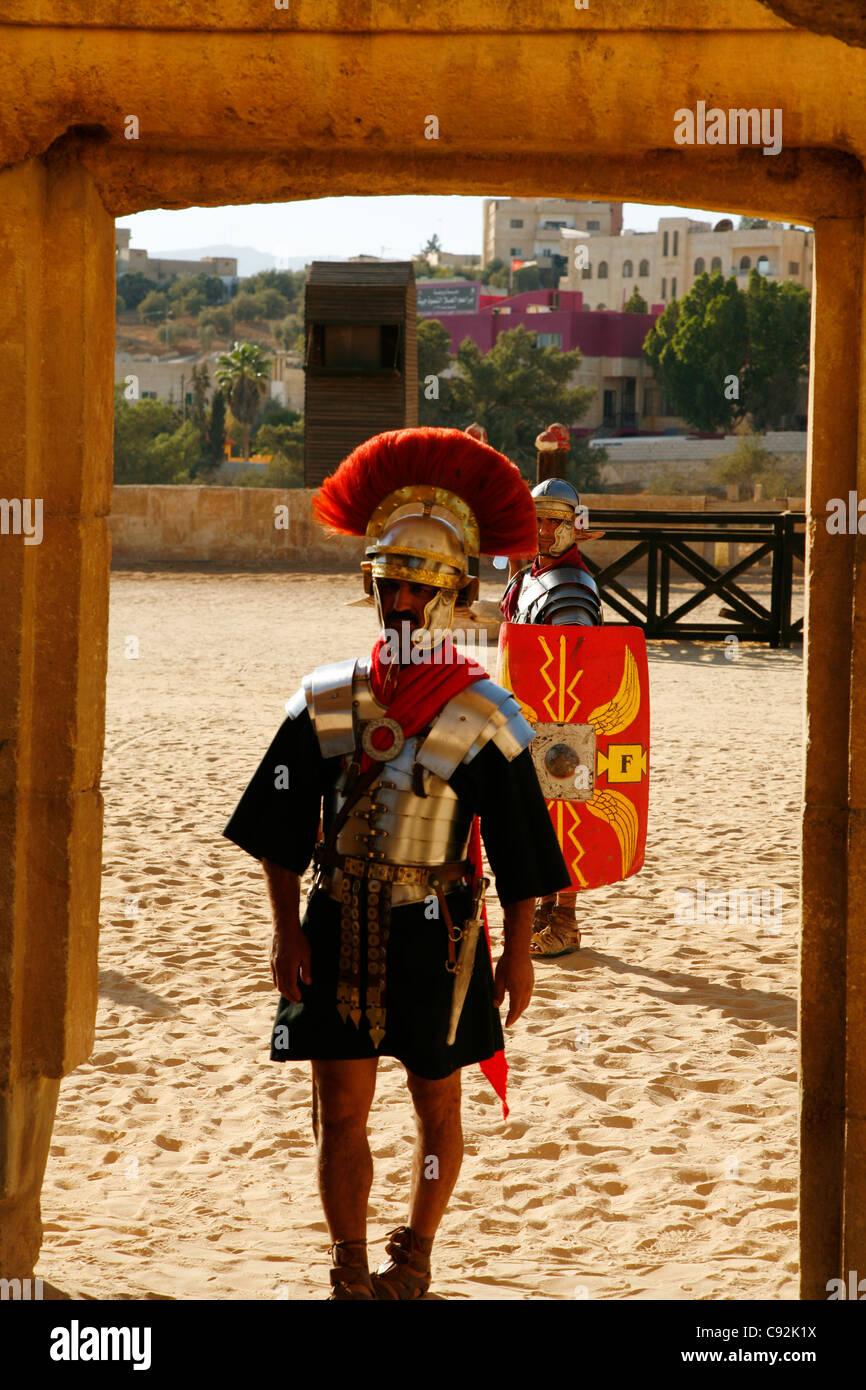 Roman Army show at the Hippodrome, Jerash, Jordan. - Stock Image