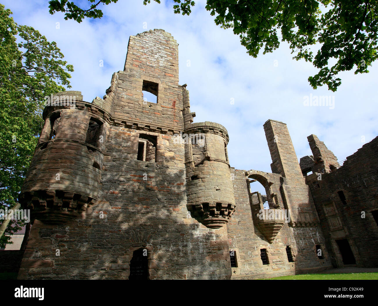 The ruins of The Earl's Palace are close to St Magnus Cathedral in the centre of Kirkwall, the main town on - Stock Image