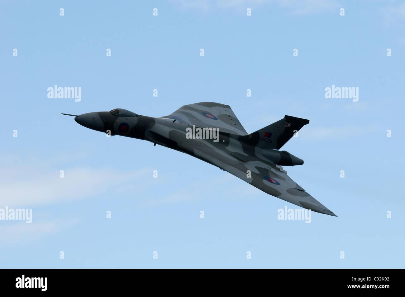 Flying Display by Fly Navy 100. Avro Vulcan B2. Vulcan to the Sky Trust aircraft. Royal International Air Tattoo - Stock Image