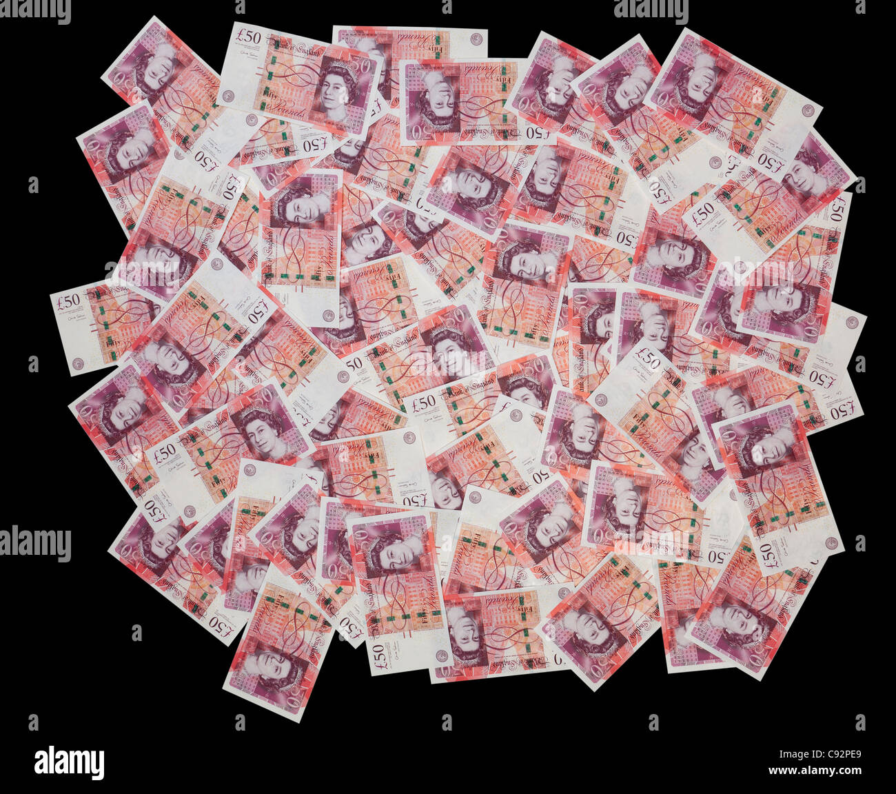 50 pound British currency bank notes £50 cash rich wealthy spread display - Stock Image
