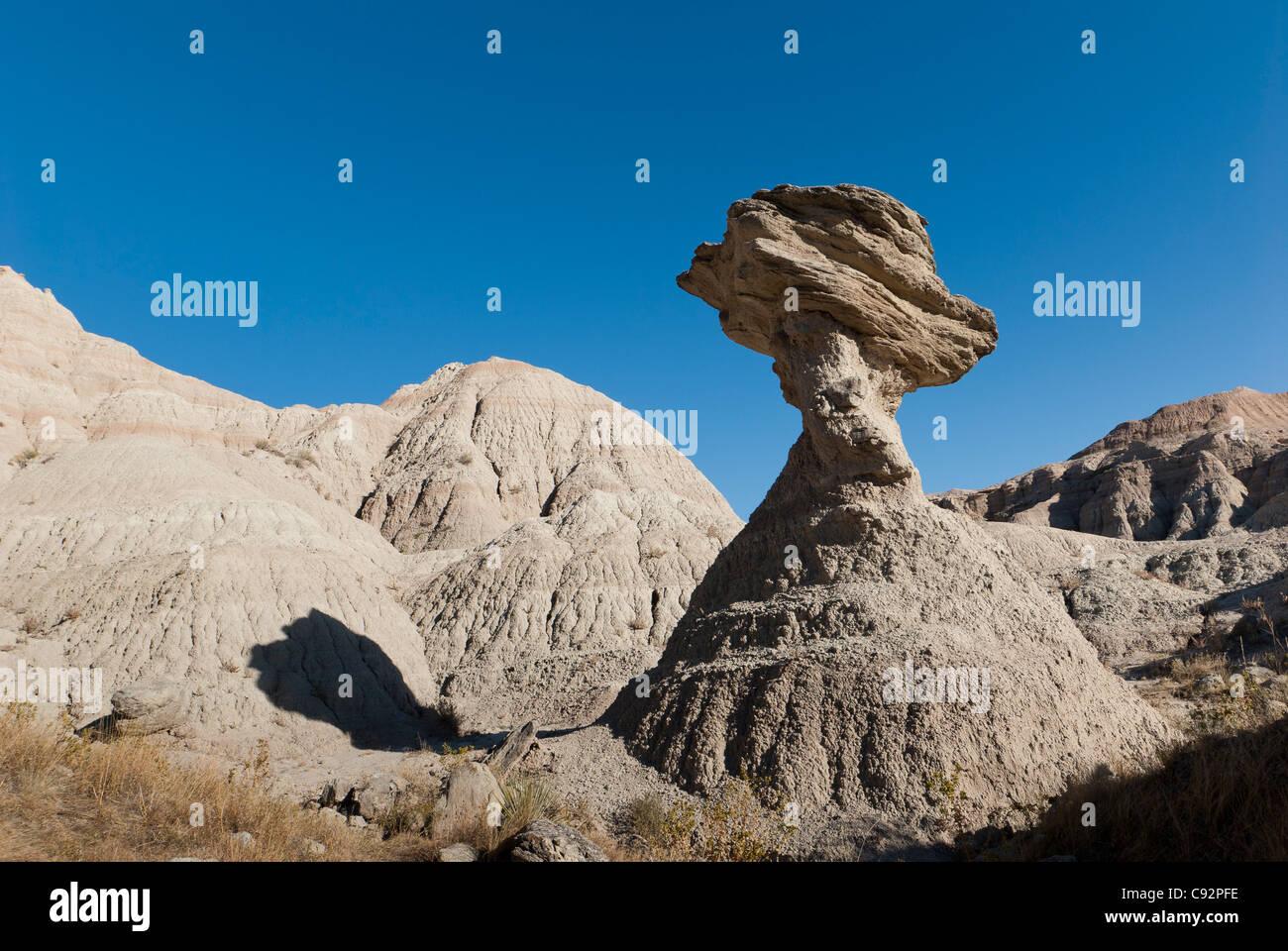 Balancing rock, Badlands National Park, South Dakota. Stock Photo