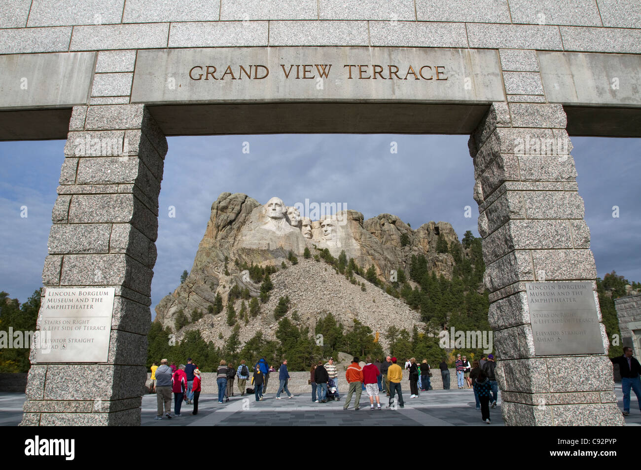 Crowd of Tourists at Grand View Terrace Archway, Mount Rushmore National Memorial, Black Hills, South Dakota, USA Stock Photo
