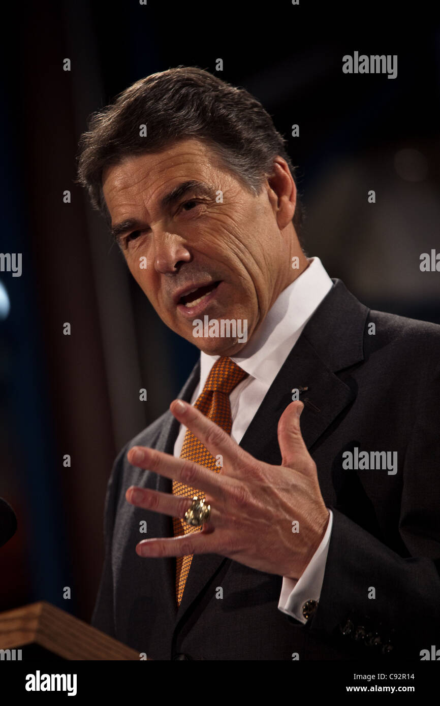 Republican presidential candidate Gov. Rick Perry outlines his flat tax plan at the ISO Poly Films factory on October - Stock Image