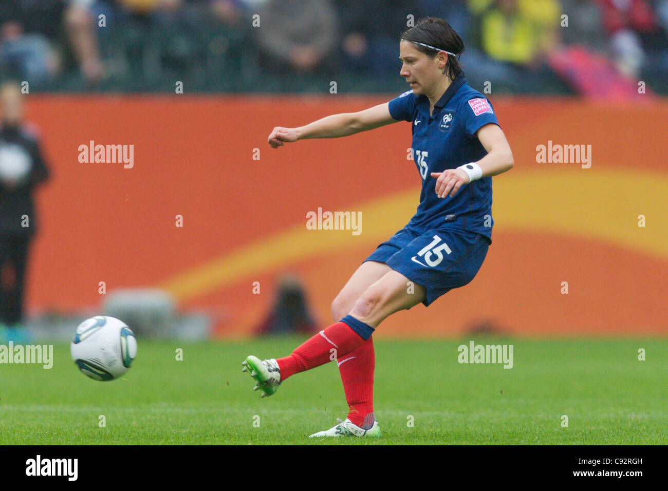 Elise Bussaglia of France passes the ball during a FIFA Women's World Cup semifinal soccer match against the - Stock Image