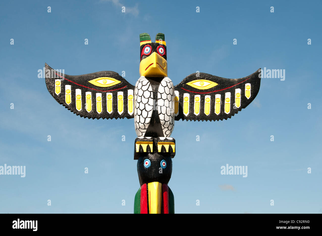 South Bend People of Thunderbird Chinook Nation Totem poles Northwest Pacific Coast - Stock Image