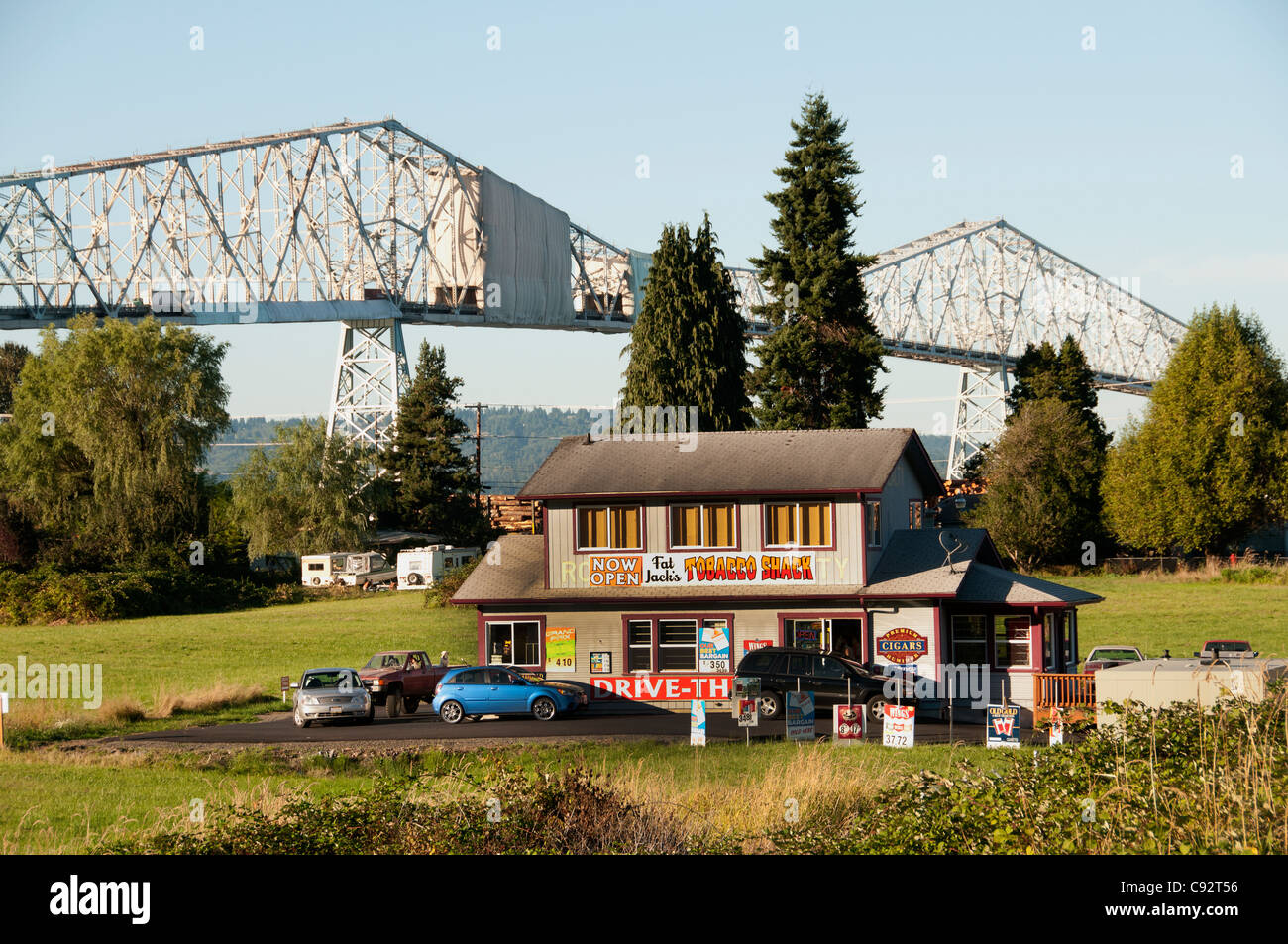 Fat Jack's Tobacco Shack drive trough Lewis And Clark Bridge Columbia River Longview Washington State United - Stock Image