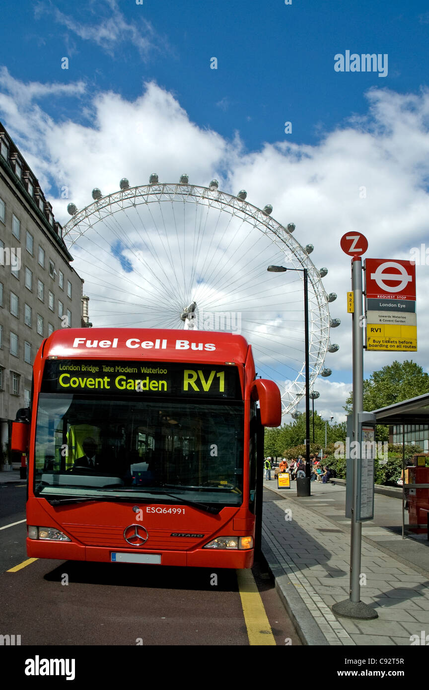 Zero emissions Mercedes Benz Hydrogen Fuel Cell Buses operate in London carrying passengers around the streets of - Stock Image