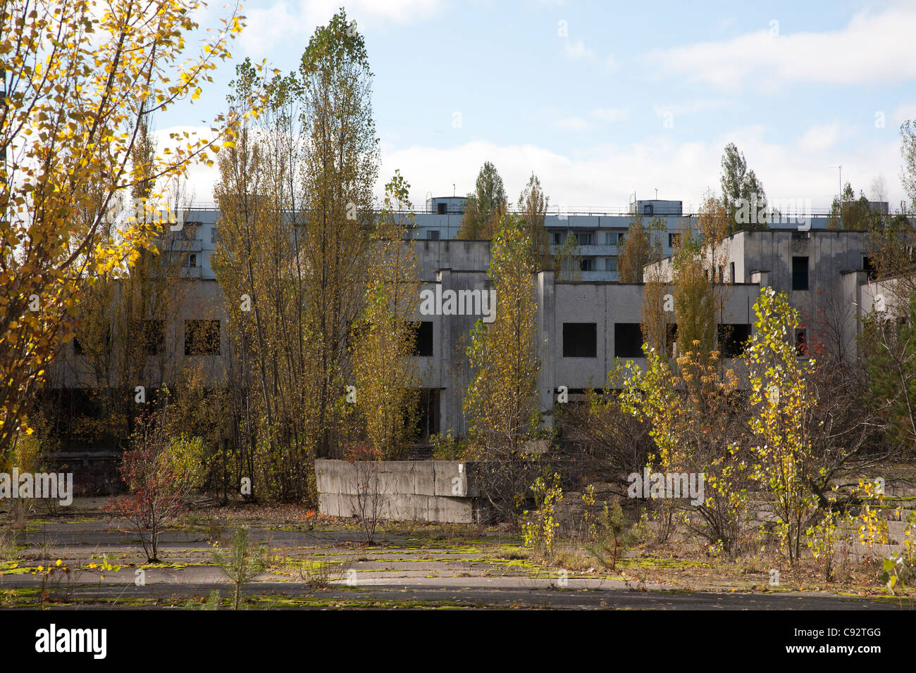 Abandoned buildings around Lenin Square Pripyat Chernobyl Exclusion Zone Ukraine - Stock Image