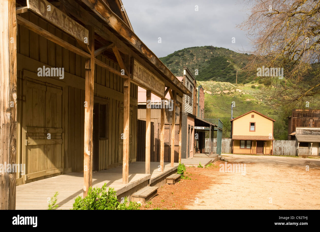 CALIFORNIA - Old western town built as a set for filming movies at the Paramount Ranch in the Santa Monica Mountains. - Stock Image