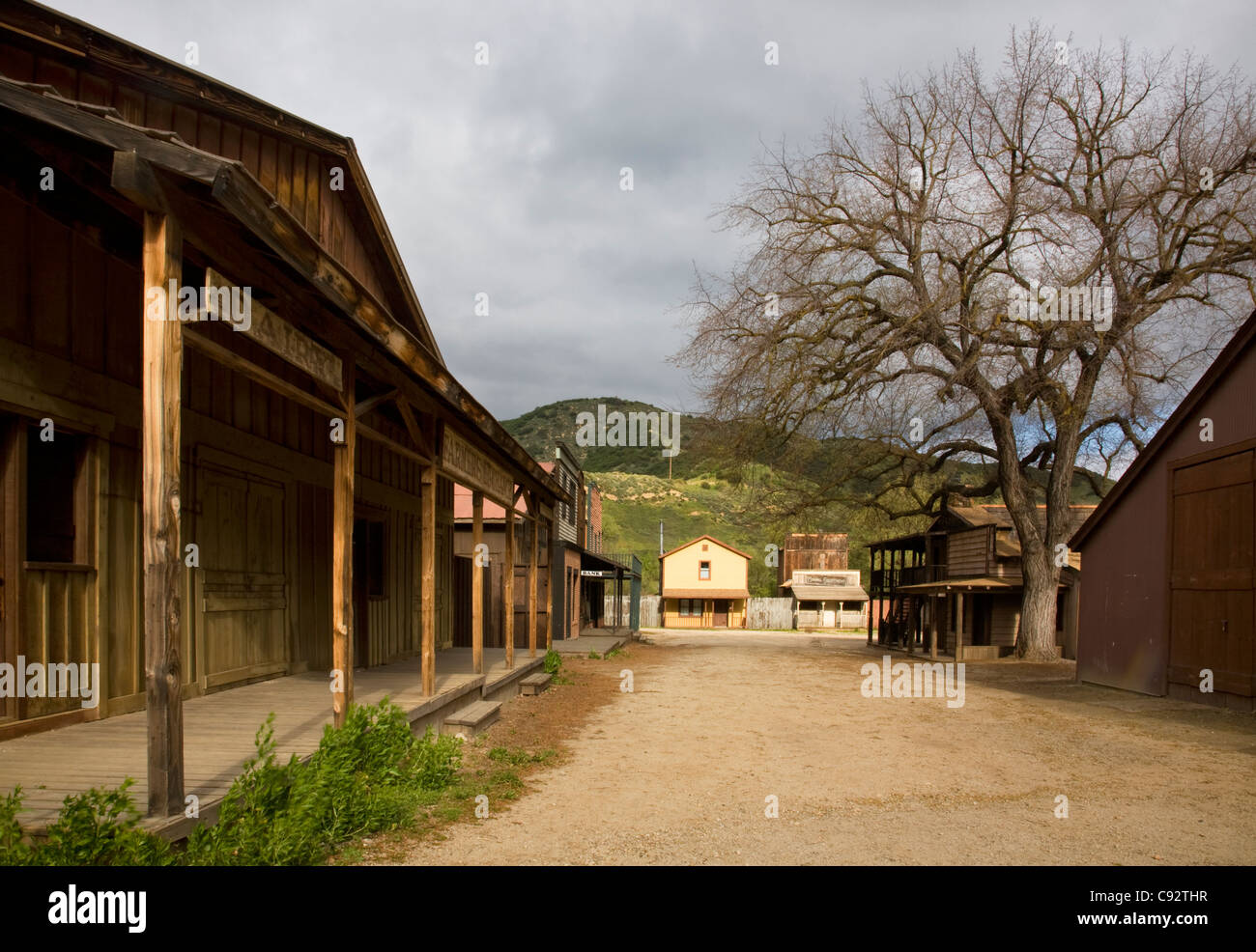 CALIFORNIA - Old western town built as a set at the Paramount Ranch in the Santa Monica Mountains National Recreation - Stock Image