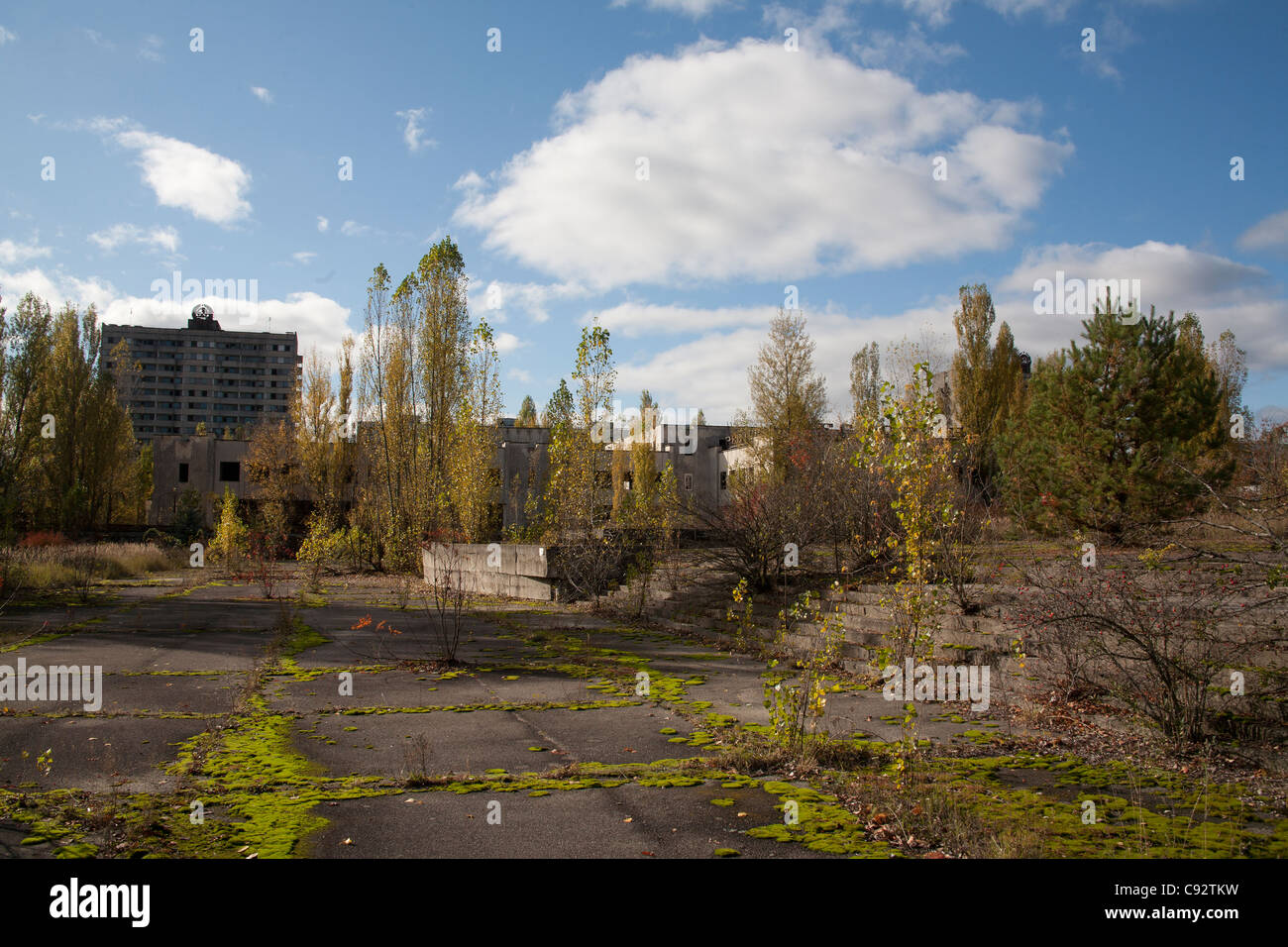 Lenin Square with the Voskhod building in the distance Pripyat Chernobyl exclusion zone Ukraine - Stock Image