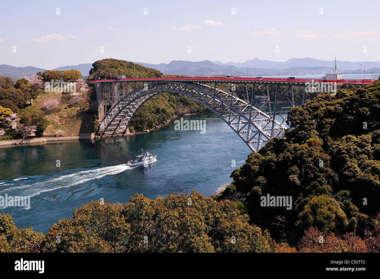 There are two Saikai bridges in the Saikai national park which span the sea channel between islands in the Kyushu - Stock Image
