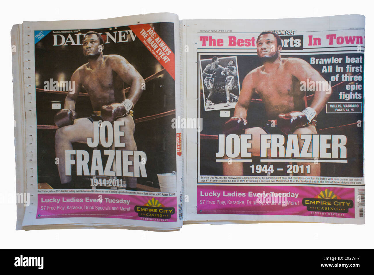 Copies of the fiercely competitive New York Daily News and the New York Post use the same Associated Press photo - Stock Image