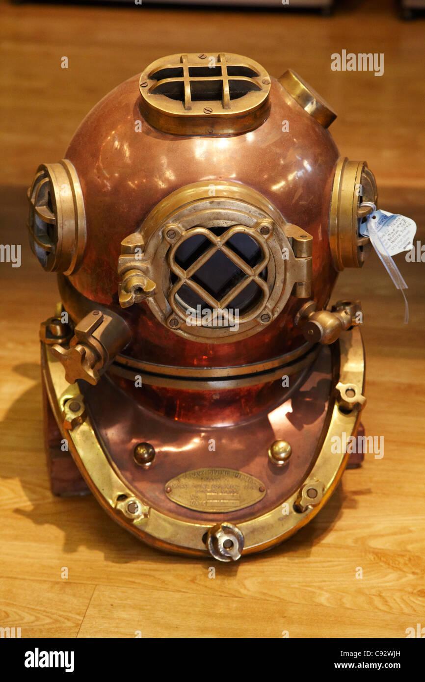 Vintage Diving Helmet, Broome, Kimberley Region, Western Australia, Australia - Stock Image